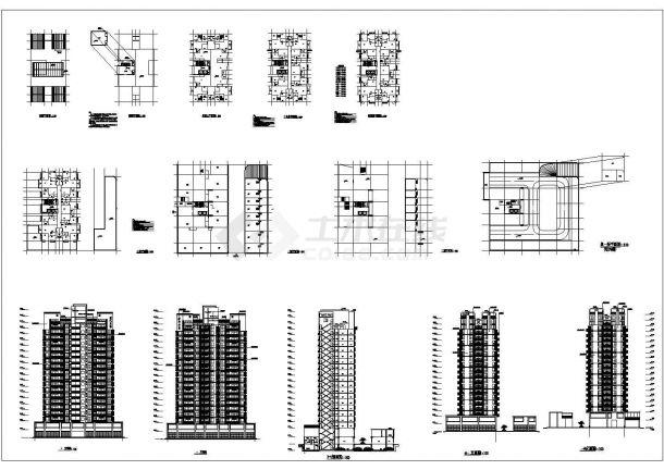 上海高层商务住宅建筑设计施工cad图纸,共十三张-图一