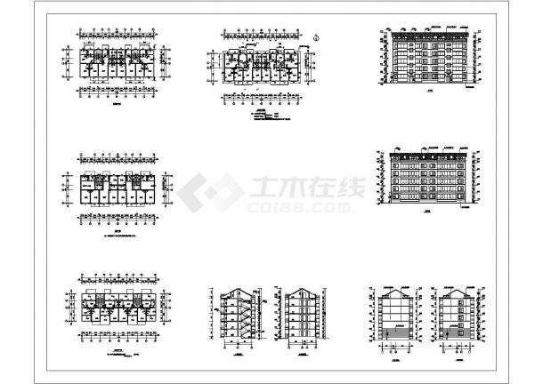 五层带阁楼层住宅建筑设计施工cad图纸,共八张-图一