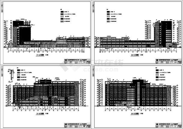 成都市某十层中西医结合医院建筑设计cad全套施工图(含设计说明,含效果图,含主楼、行政楼、裙房、道路、绿化等设计)-图一