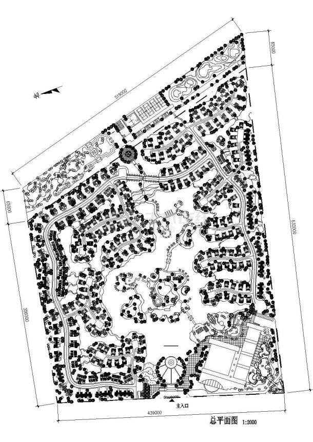 别墅绿化设计cad图(含总平面图)-图一