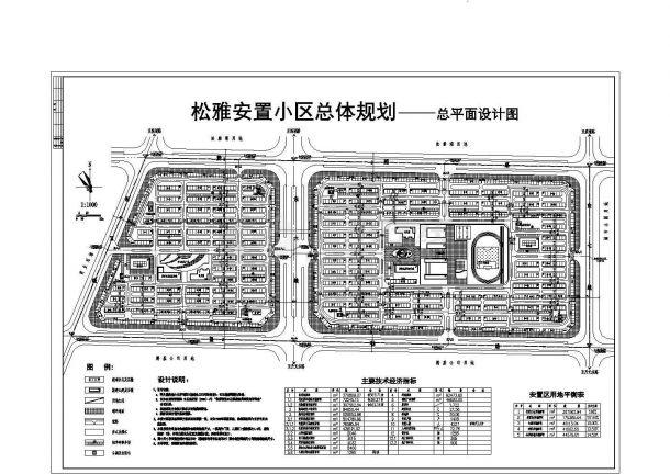 某市松雅安置小区规划设计cad图(含总平面图)-图一