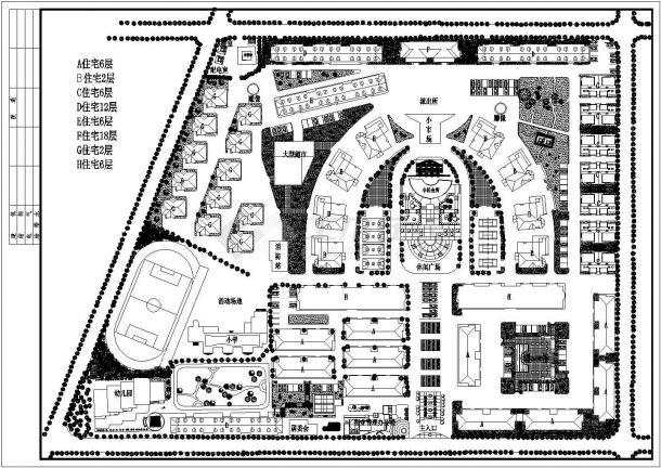 十二层小区规划设计cad图(含总平面图)-图一