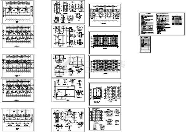 某六层住宅楼建筑施工图(设计功能包括:起居室、卧室、餐厅)-图一