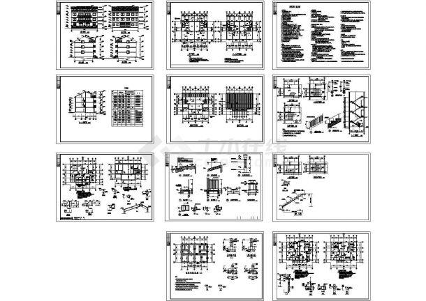 630平米3层砖混结构联建房建筑设计CAD施工图-图二