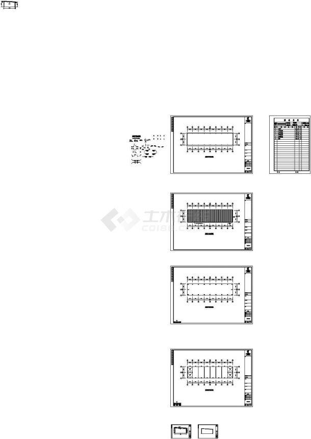 某单层门式钢结构厂房建筑施工cad图纸-图一