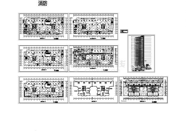 某二十层住宅消防设计cad图(含平面图,共八张)-图一
