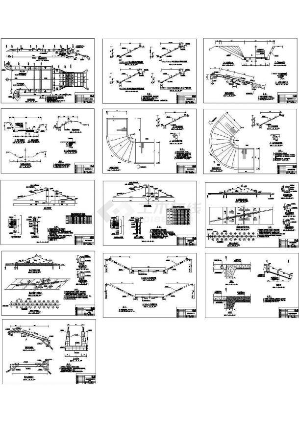 某工程溢洪道施工设计cad全套图纸(平面图 剖面图等,共13张图)-图一