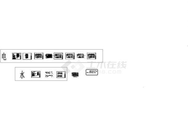 郑州某100㎡多层框架结构学校教学楼顶层水+电设计cad全套施工图(含设计说明)-图一