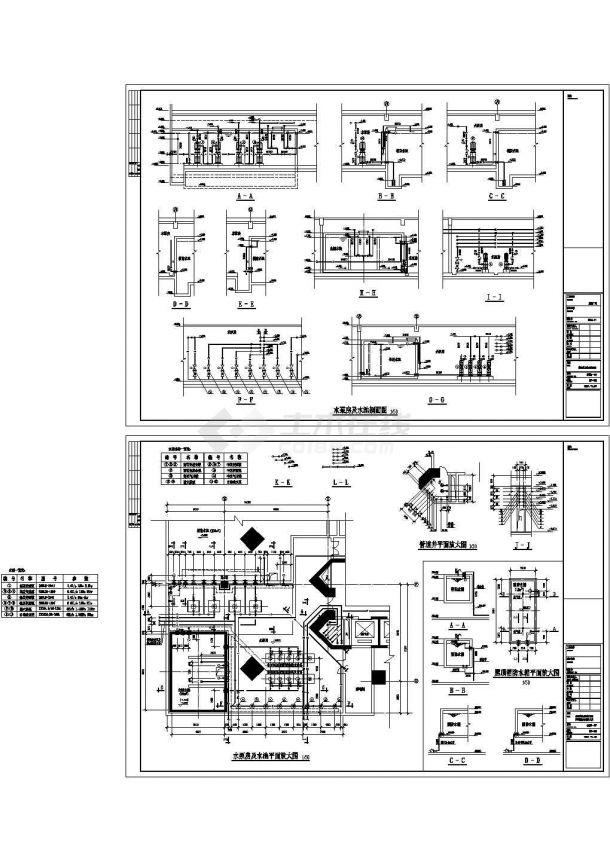 某工程泵房及屋顶消防水箱设计cad图纸-图一