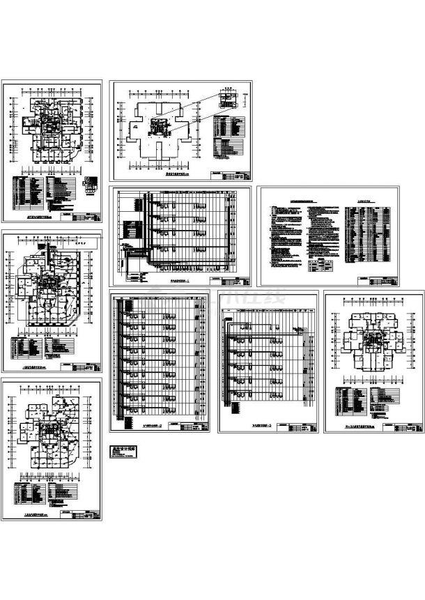 十八层住宅消防联动控制系统设计cad图,共九张-图一