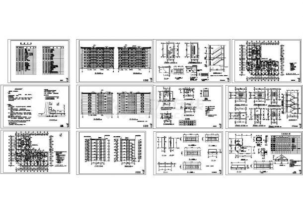 4378平方米某七层住宅楼建筑施工cad图,共十二张-图一