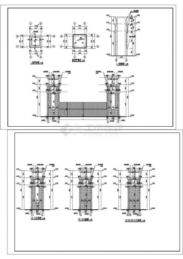 高6.6米,宽10米无顶盖藏式大门详细建筑方案及平剖面图-图一