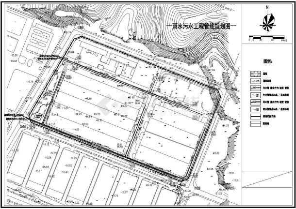 某厂区雨水污水工程管线CAD规划图-图一
