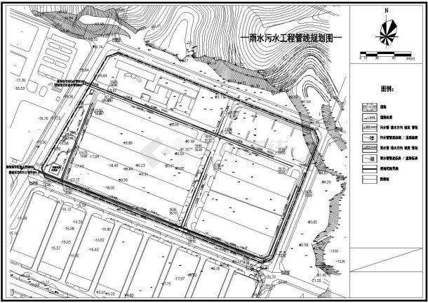 某厂区雨水污水工程管线CAD规划图-图二