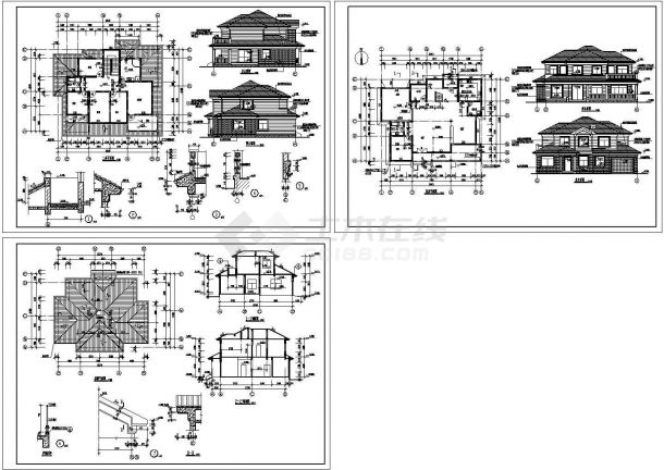 苏州白莲花园砖混结构别墅设计施工cad图纸,共三张-图一