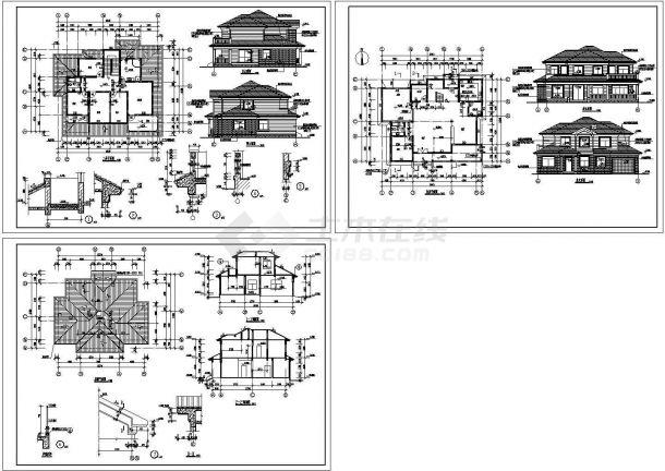 苏州白莲花园砖混结构别墅设计施工cad图纸,共三张-图二