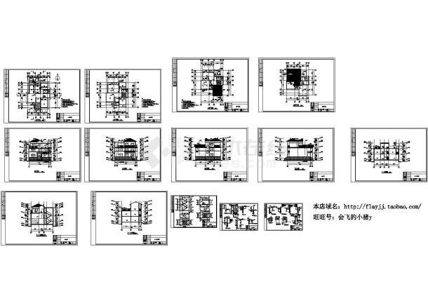 3层:长13.84米 宽12.34米 农村住宅建筑施工图(dwg格式)-图二