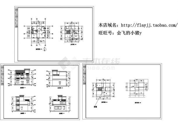 3层:长10.3米 宽9米 平屋顶农村住宅建筑设计图【平立】cad施工图设计-图一