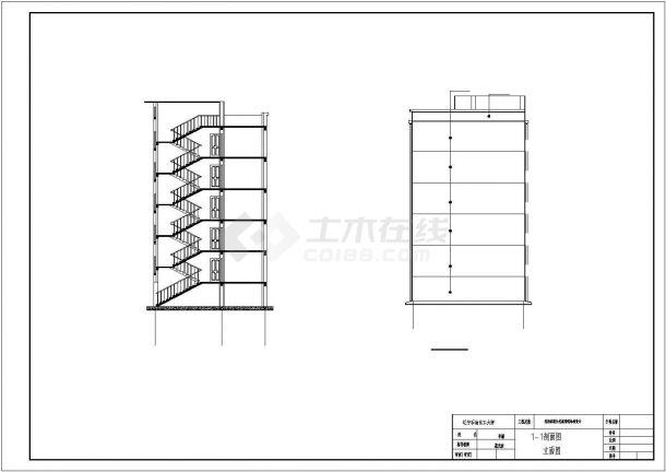 六层框架结构住宅楼设计cad图(含计算书,毕业设计)-图一