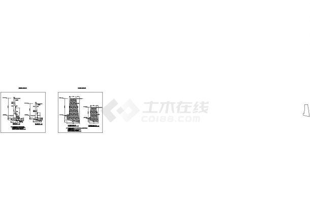 8米重力式挡土墙或悬臂式挡土墙结构施工图-图一