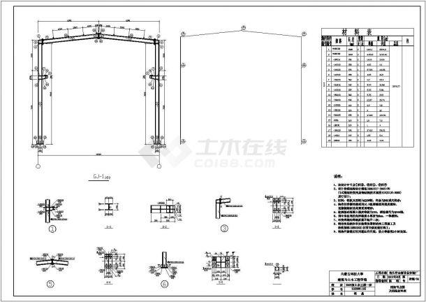 单层钢结构厂房毕业设计(含计算书,建筑,结构)cad施工图设计-图一