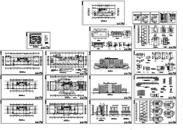 六层7472平米办公楼建筑设计cad施工图-图一