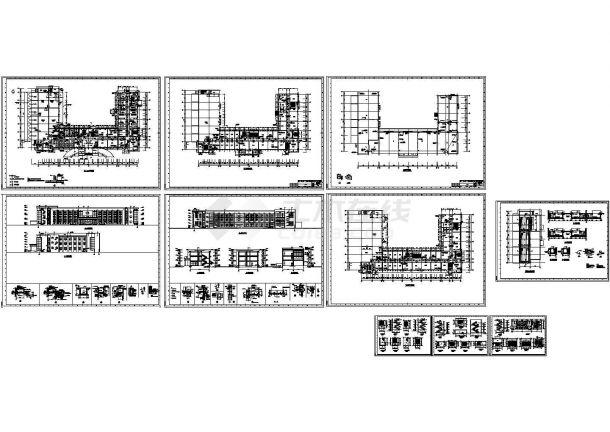 三层凹形化工公司环氧丙烷办公综合楼建筑设计cad施工图-图一