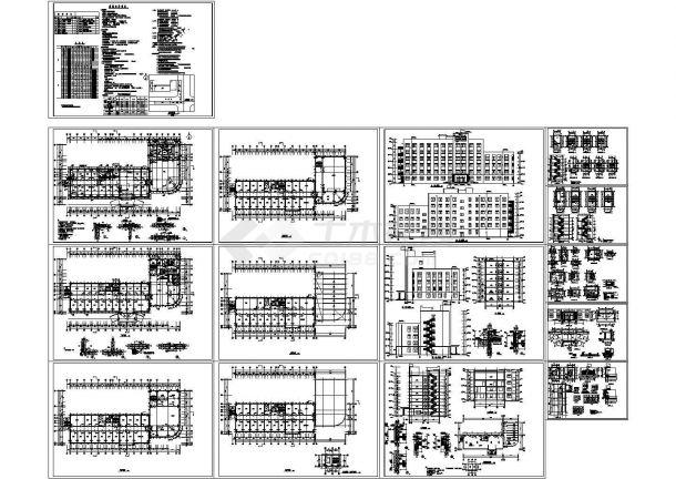 六层4996.88平米L形检察院办公楼建筑设计cad施工图-图一