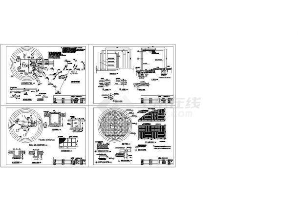 一个水帘喷泉水景小品全套施工图Cad设计图-图二
