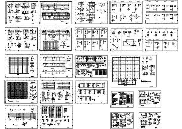 134x108m 多跨钢结构厂房带附楼结构设计CAD施工图-图一