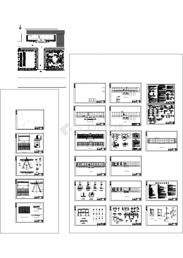 两层砖混结构收费站及服务区建筑施工cad图,共二十一张-图一