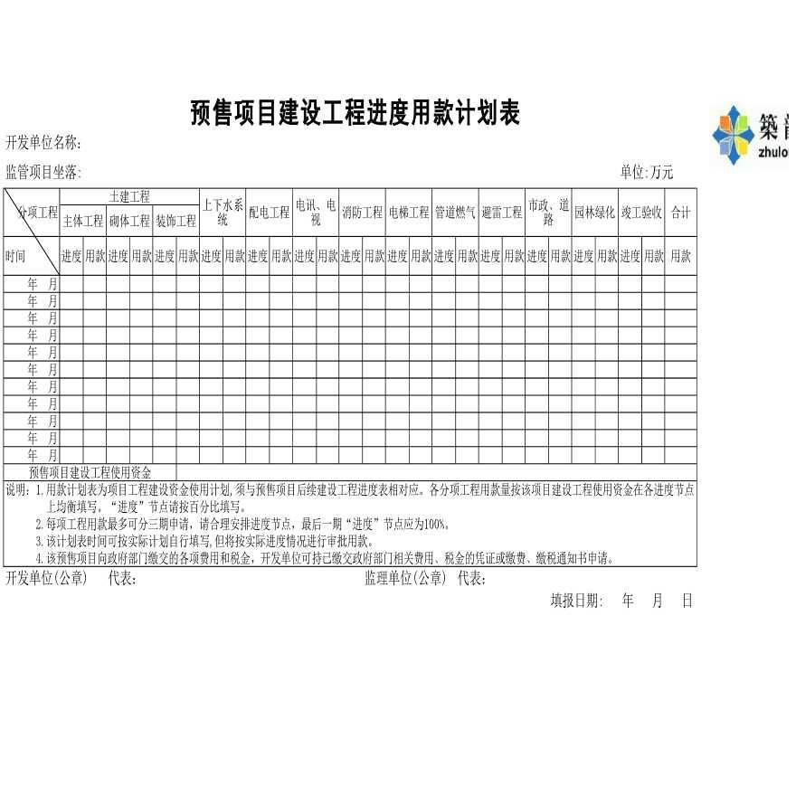 房地产预售项目施工进度用款计划表(直接填写)-图二