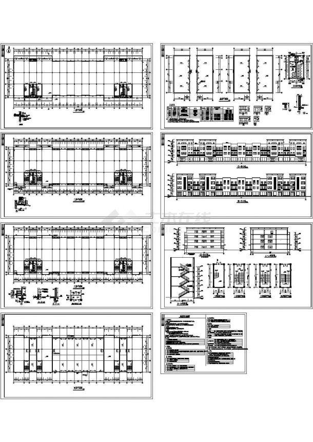 某市4层7882平米精密五金厂房车间建筑设计施工图-图一