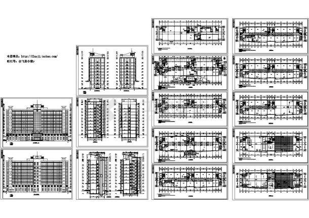 九层生物公司厂区办公楼cad设计图-图二