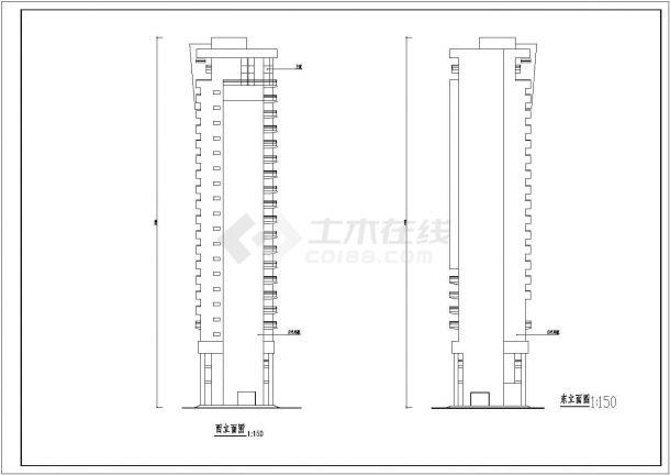 某二十二层框架结构住宅楼建筑方案图-图一