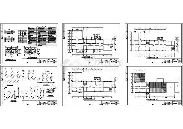 4层L型医院门诊楼给排水设计cad施工图-图一