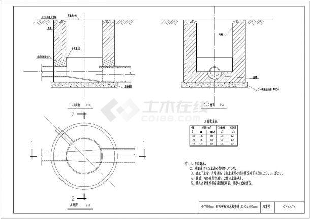 ?700mm圆形砖砌雨水检查井 D≤400mm-图二