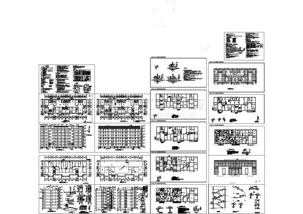 6层框架结构住宅楼建筑结构全套图(CAD,20张图纸)-图二
