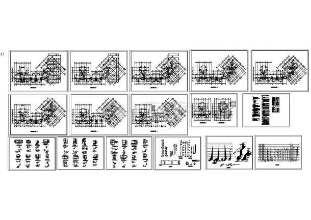 九层不规则商住楼给排水设计施工图-图一