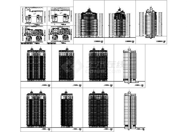 2栋高层商住楼建筑设计CAD方案图-图一