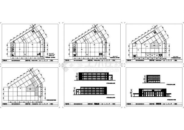 三层某外国语学校中学部食堂建筑设计图-图一
