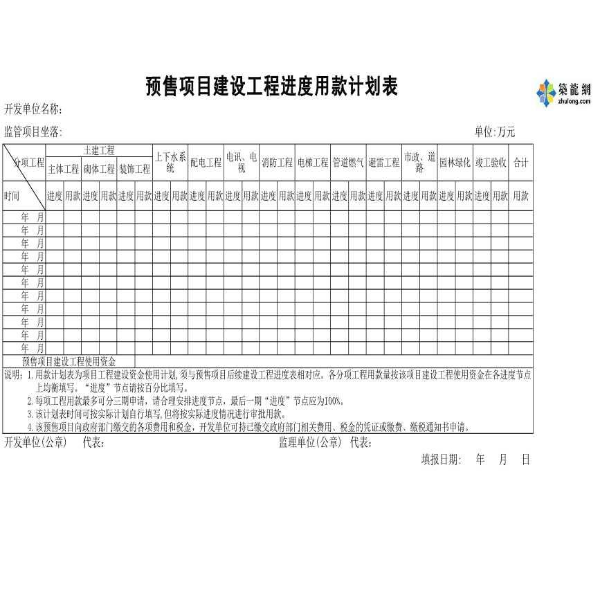 房地产预售项目建设工程施工进度用款计划表-图二