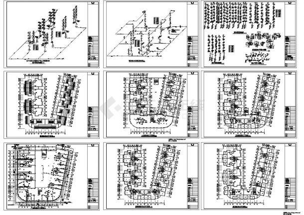 七层U型(7单元1户2户)小区组团住宅给排水设计施工图-图一