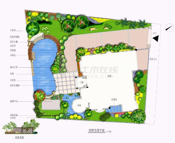 某别墅庭院景观设计平面方案-图一