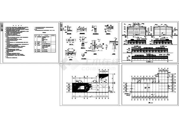 某单层砖混结构工业生产厂房车间设计cad全套建筑方案图(含设计说明)-图二