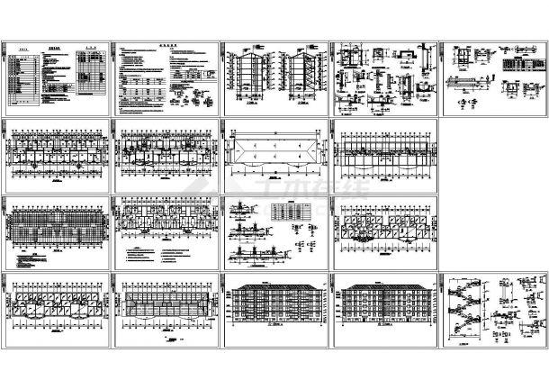 某1架空+5层砖混结构住宅楼设计cad全套建筑施工图(含设计说明,含结构设计)-图二