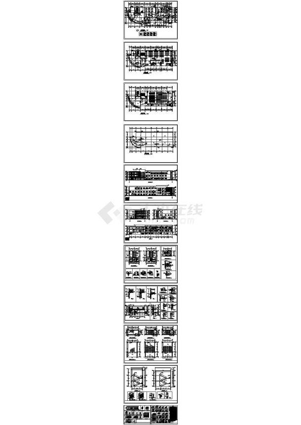 某中学三层综合楼建筑cad设计施工图纸-图一