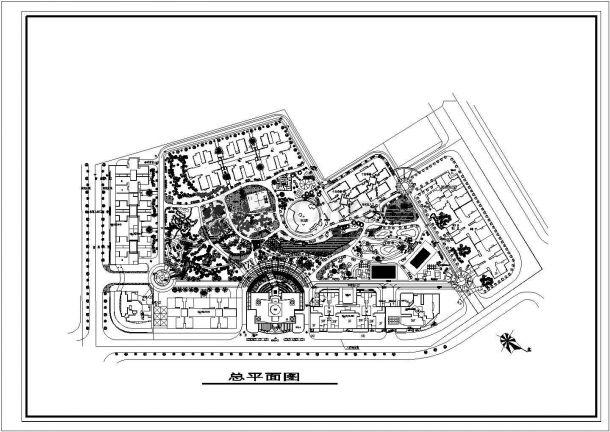 某不规则形状地块居住小区种植绿化规划设计cad方案总平面图(甲级院设计)-图一