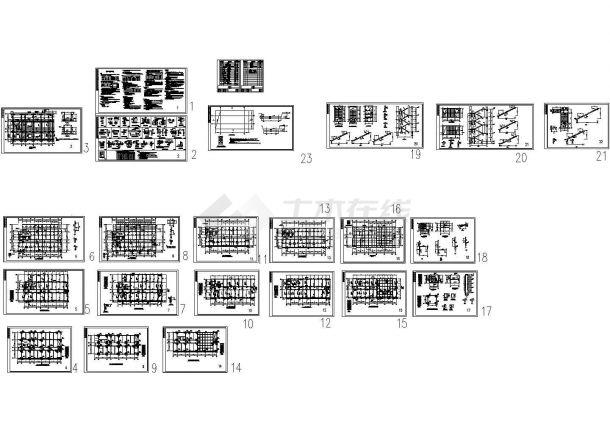 6层框架结构教学楼结构施工CAD图纸设计(CAD、23张)-图二