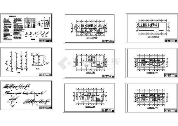 度假村五层洗浴中心综合楼给排水设计施工图纸设计dwg-图二
